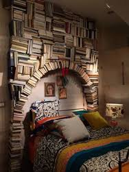 Repurposed books headboard