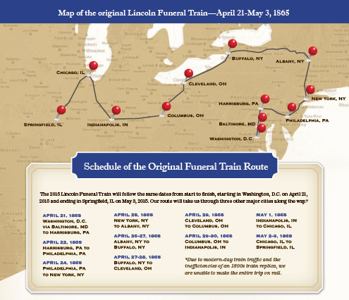 Abraham Lincoln Funeral Train 2015 map-from-brochure